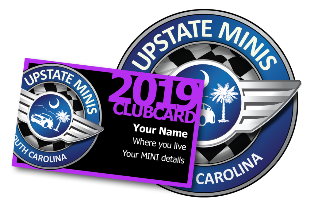 Upstate MINIs Club Card example and logo.